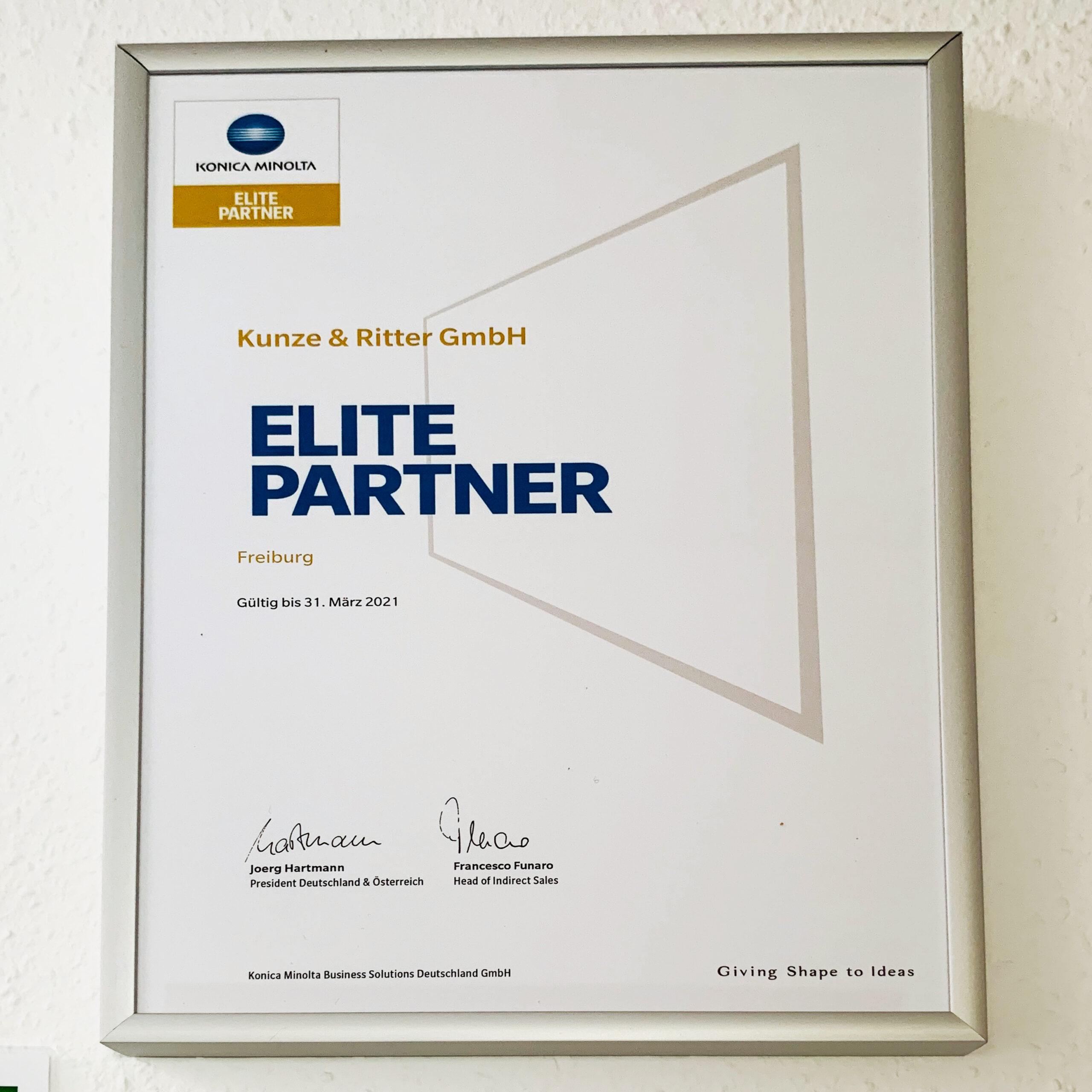 Zertifikat Elite Partner Konica Minolta